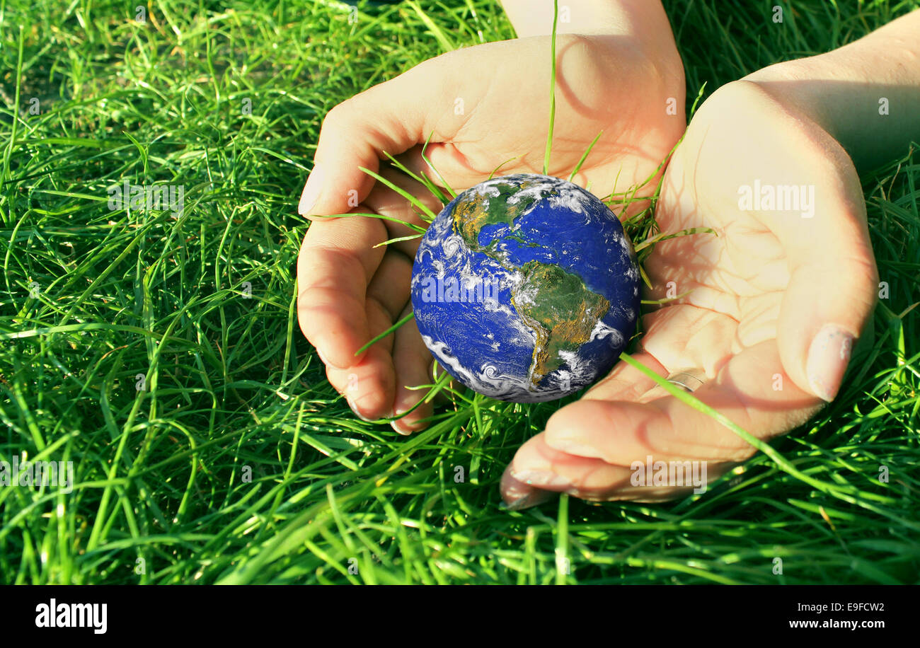 Hands with earth globe on green grass - Stock Image