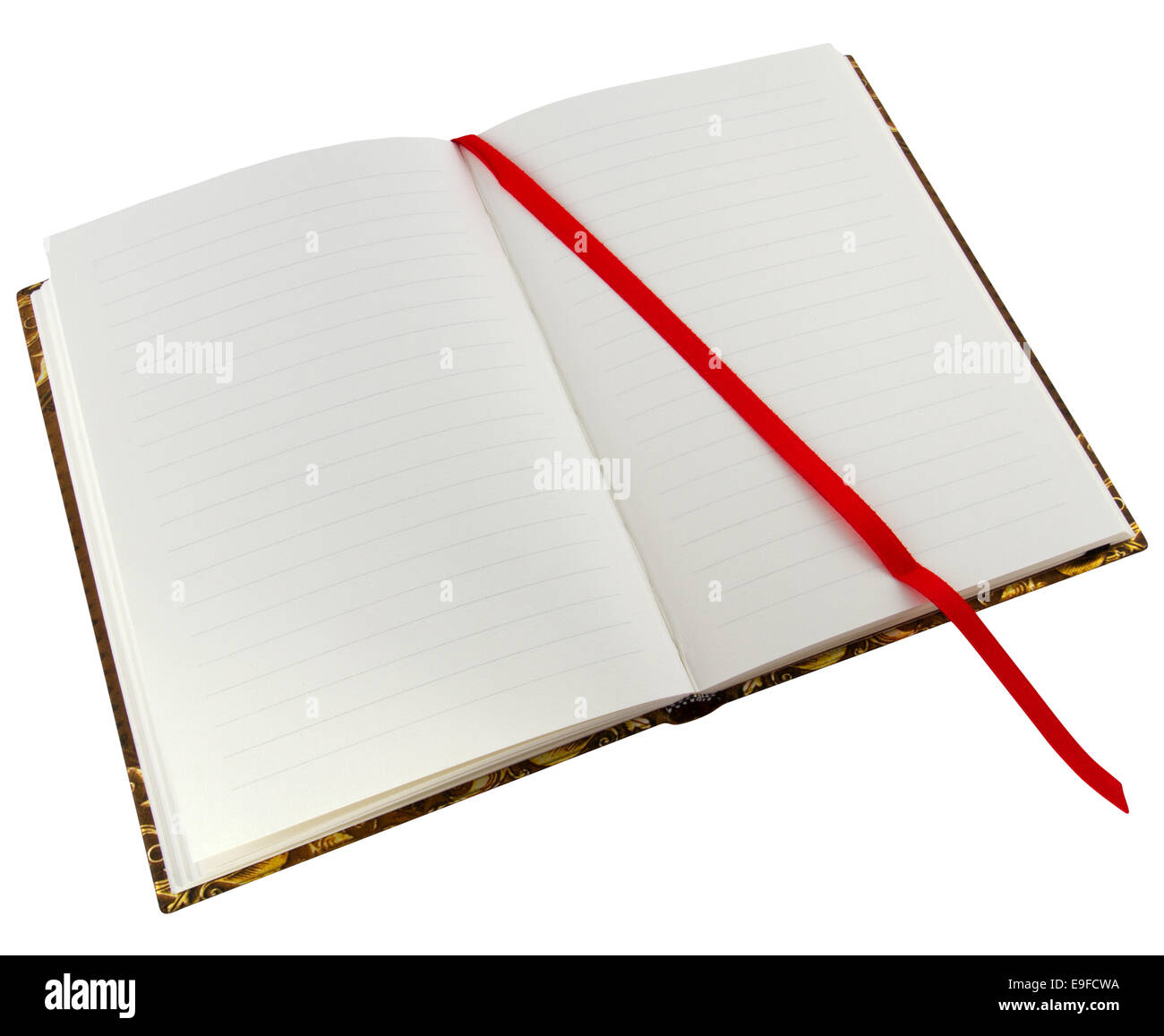 Book with red binder textspace available - Stock Image