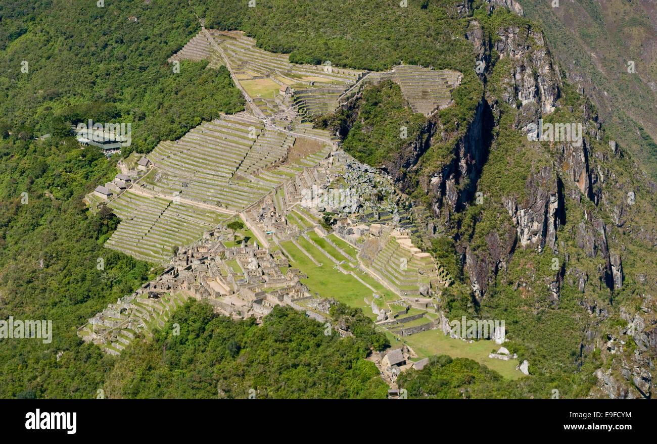Machu Picchu from Huayna Picchu Panorama - Stock Image