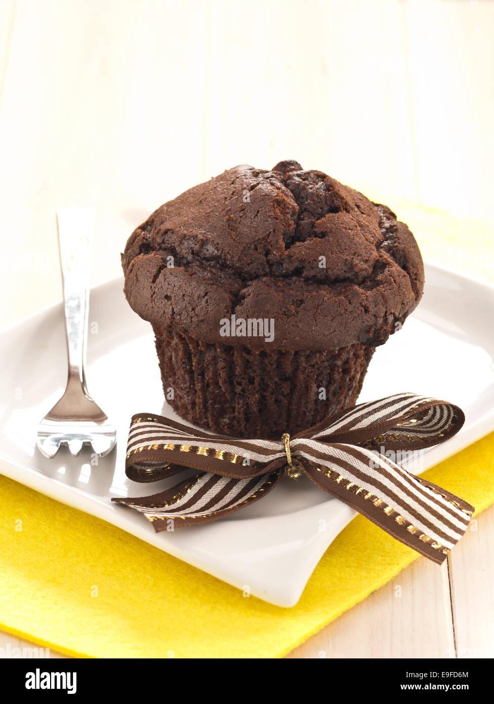 Chocolates Cupcake on a plate Stock Photo