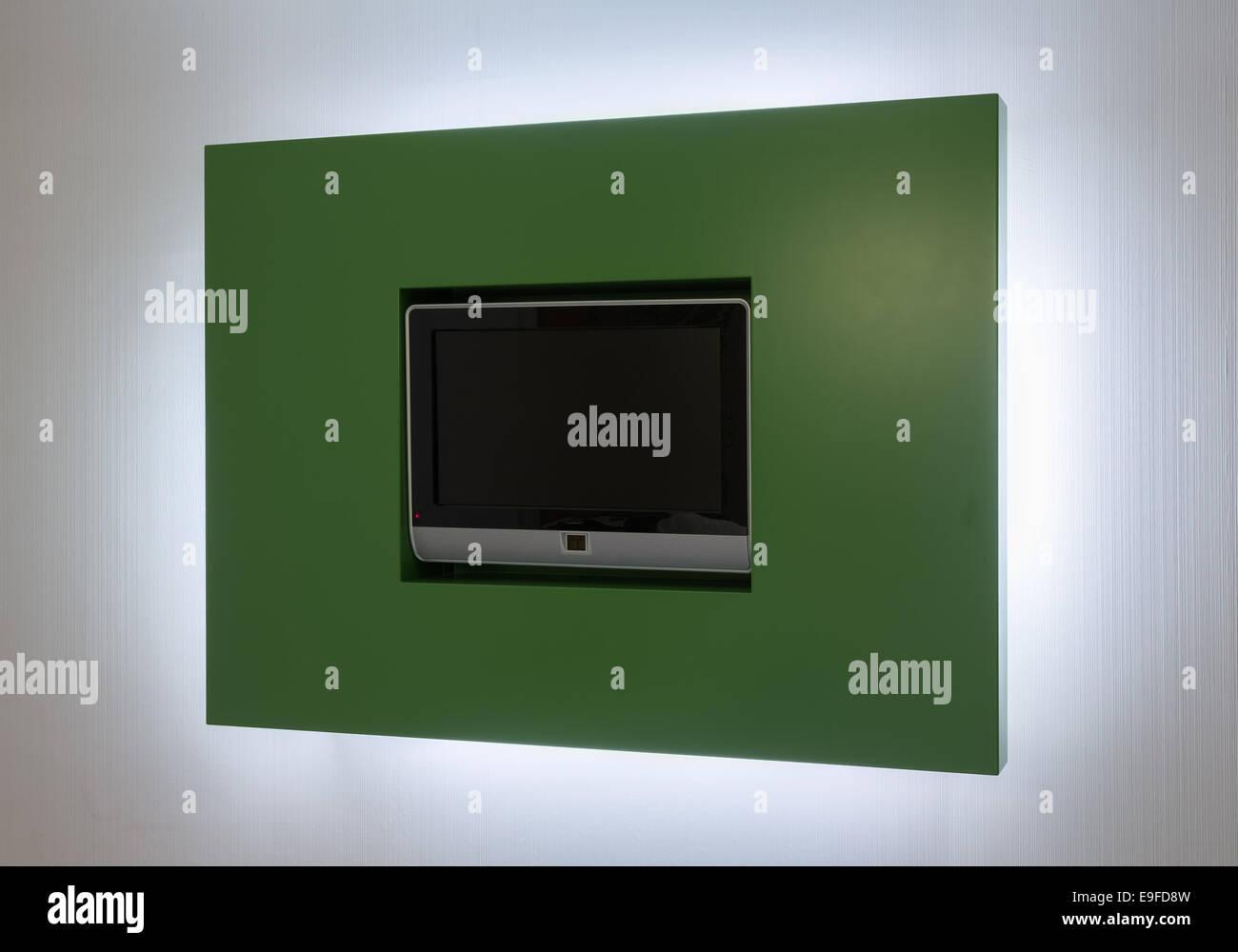 Modern TV set in green backlit frame Stock Photo: 74713097 - Alamy