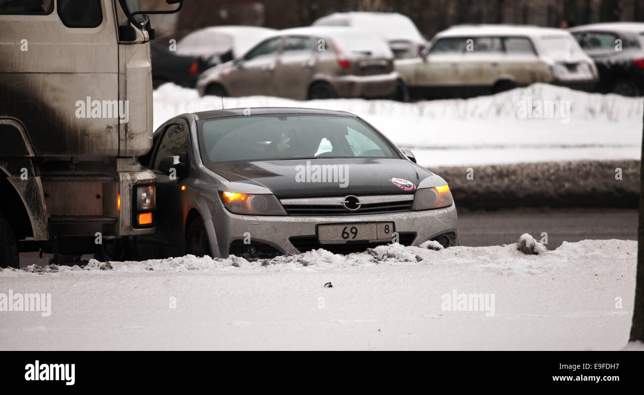accident on slippery road - Stock Image