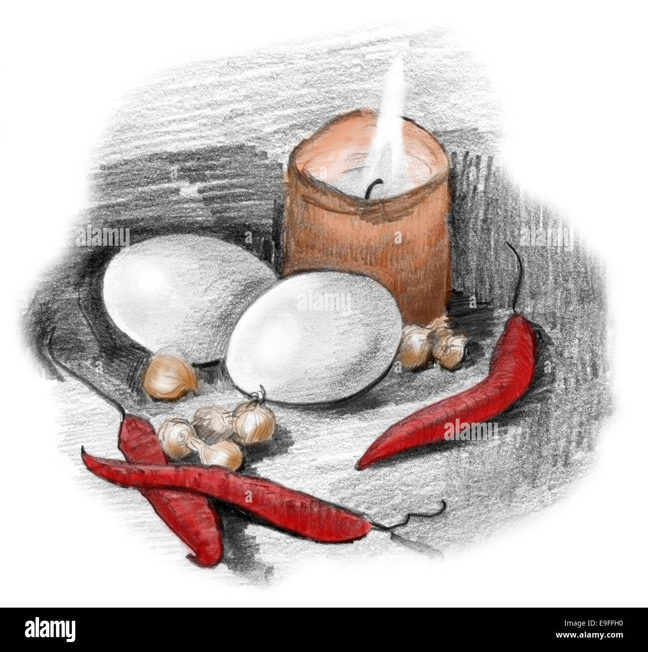Eggs, peppers, crocus bulbs and candle light still life. Pencil sketch drawing in black and white partially colorized. Stock Photo