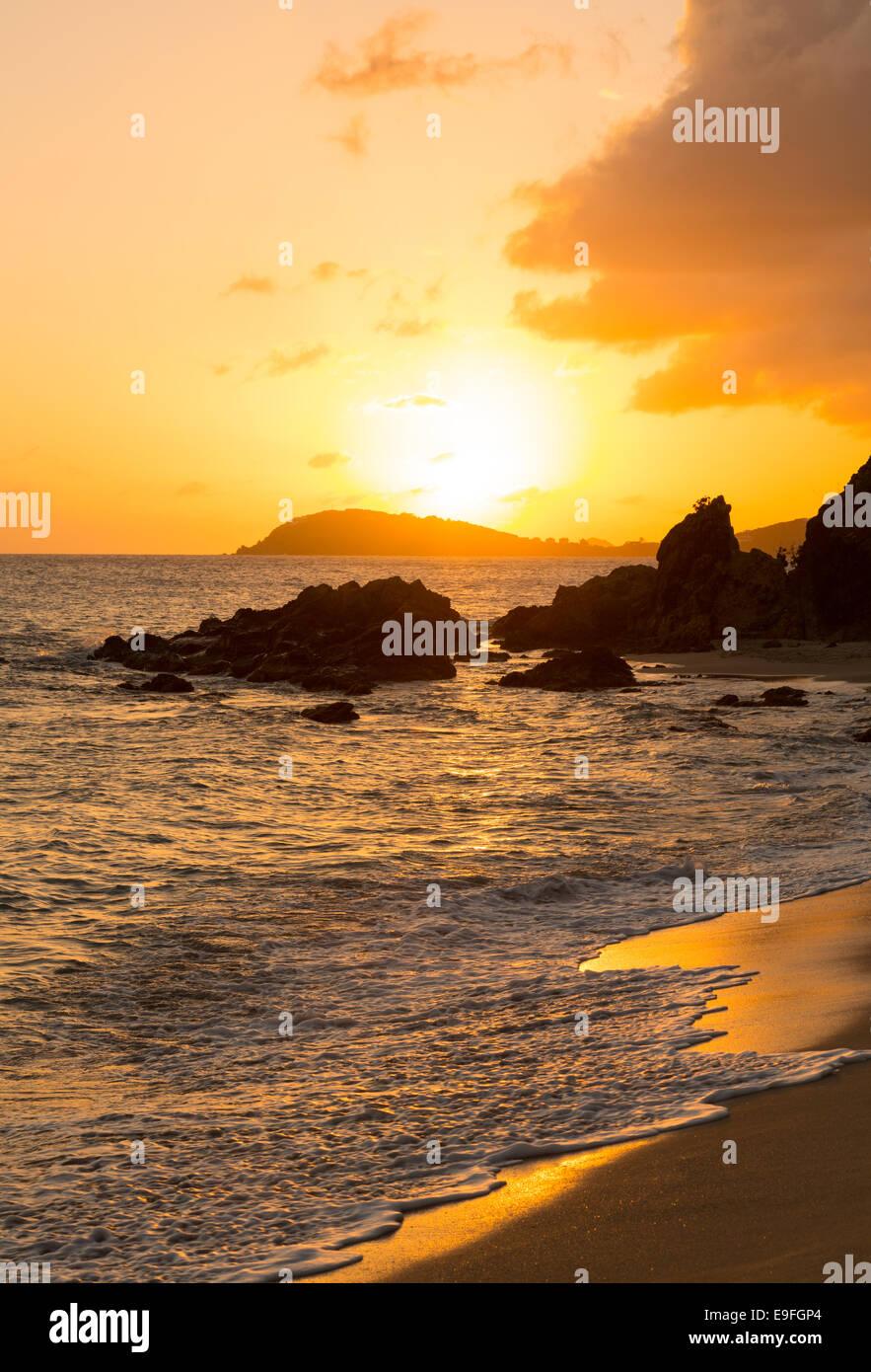 Sunset off coast of St Thomas Stock Photo
