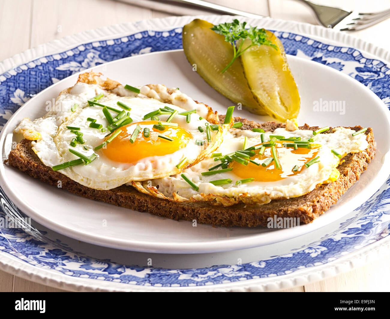 Fried egg on a slice of bread Stock Photo