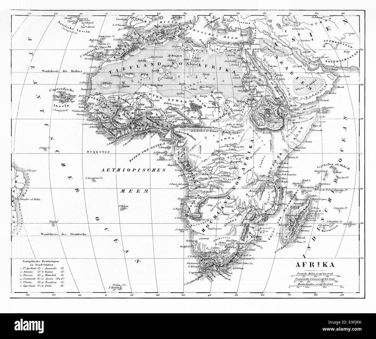Engraved illustration of a Map of Africa from Iconographic Encyclopedia of Science, Literature and Art, Published - Stock Image