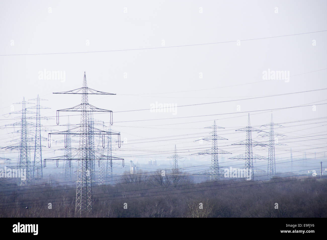 Electrical towers in the ruhr area, germany Stock Photo