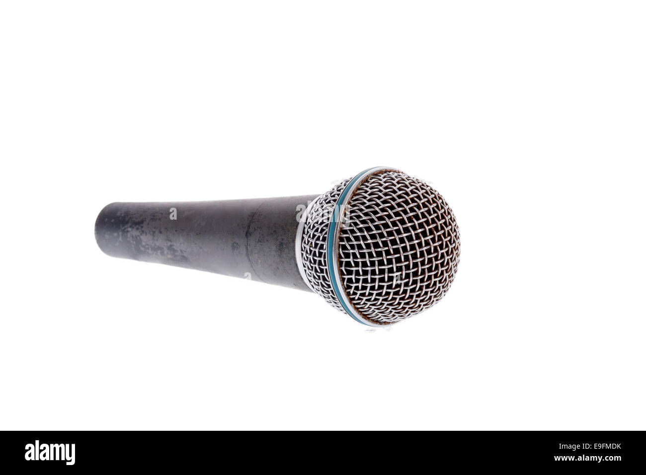 recording microphone for lead vocal on live gig ,  music instrument for performance isolated on white - Stock Image
