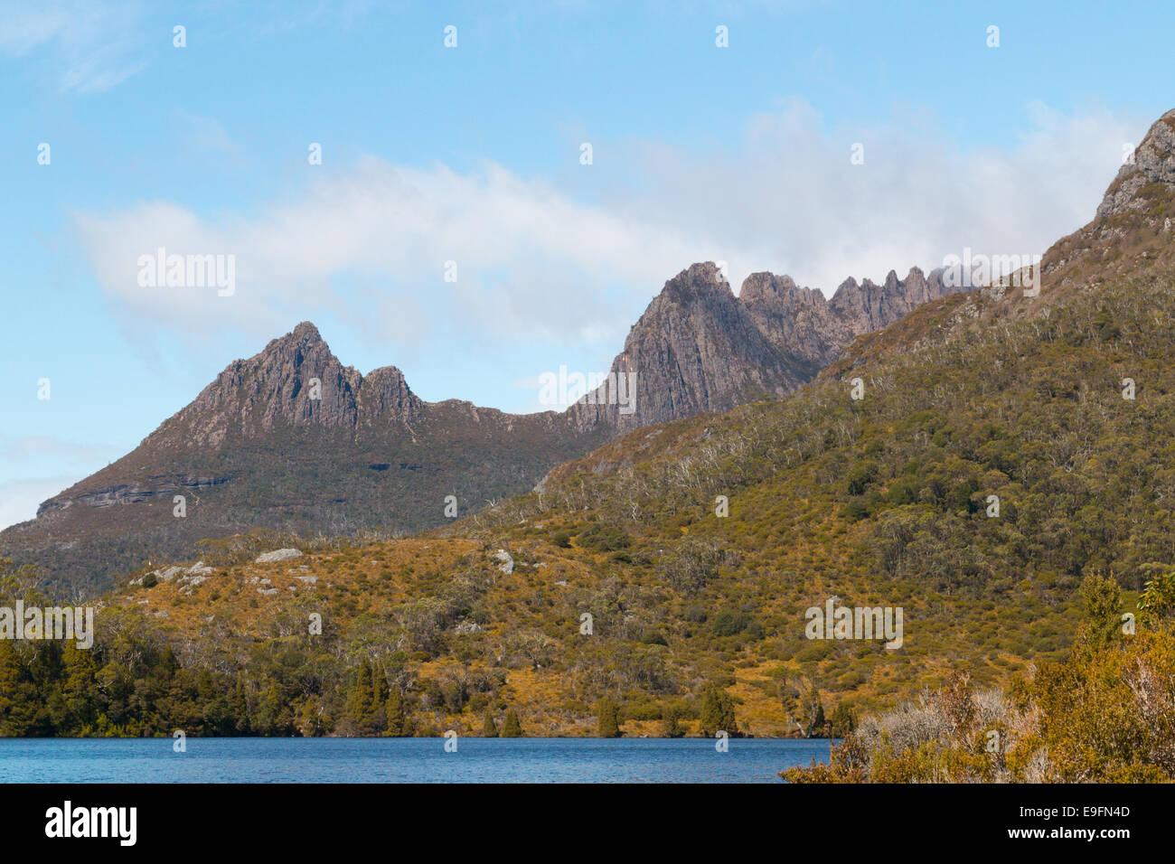 Cradle mountain Tasmania and dove lake, in cradle mountain lake st clair national wilderness park,Tasmania,Australia - Stock Image