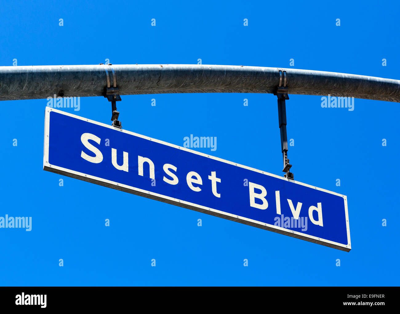 Sunset Boulevard street sign, West Hollywood, Los Angeles, California, USA - Stock Image