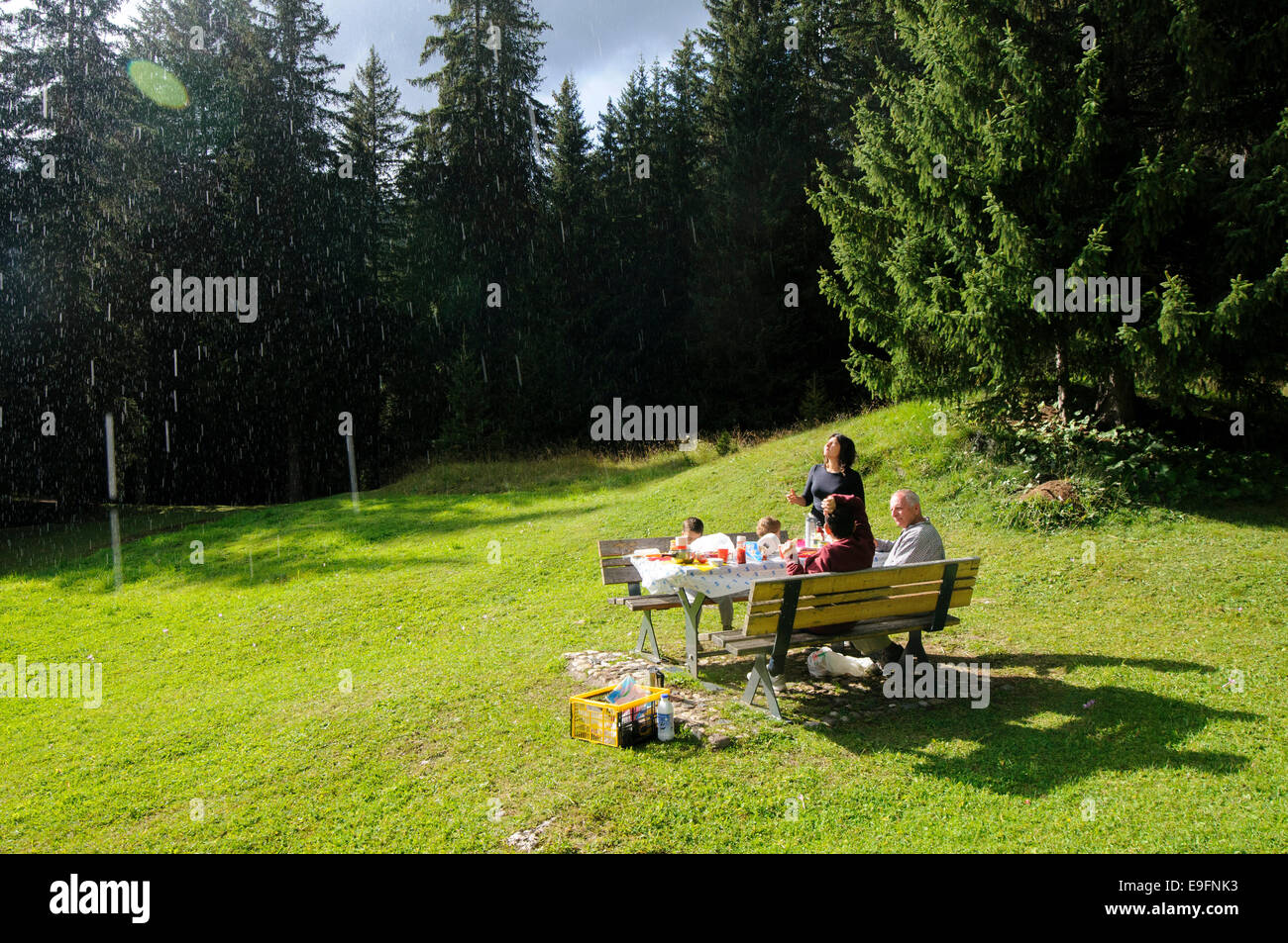 Raining on a Family picnic in a forest in the Dolomites, Italy - Stock Image