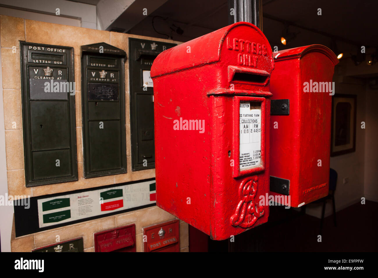 UK, England, Wiltshire, Bath, Postal Museum, letter boxes on display - Stock Image