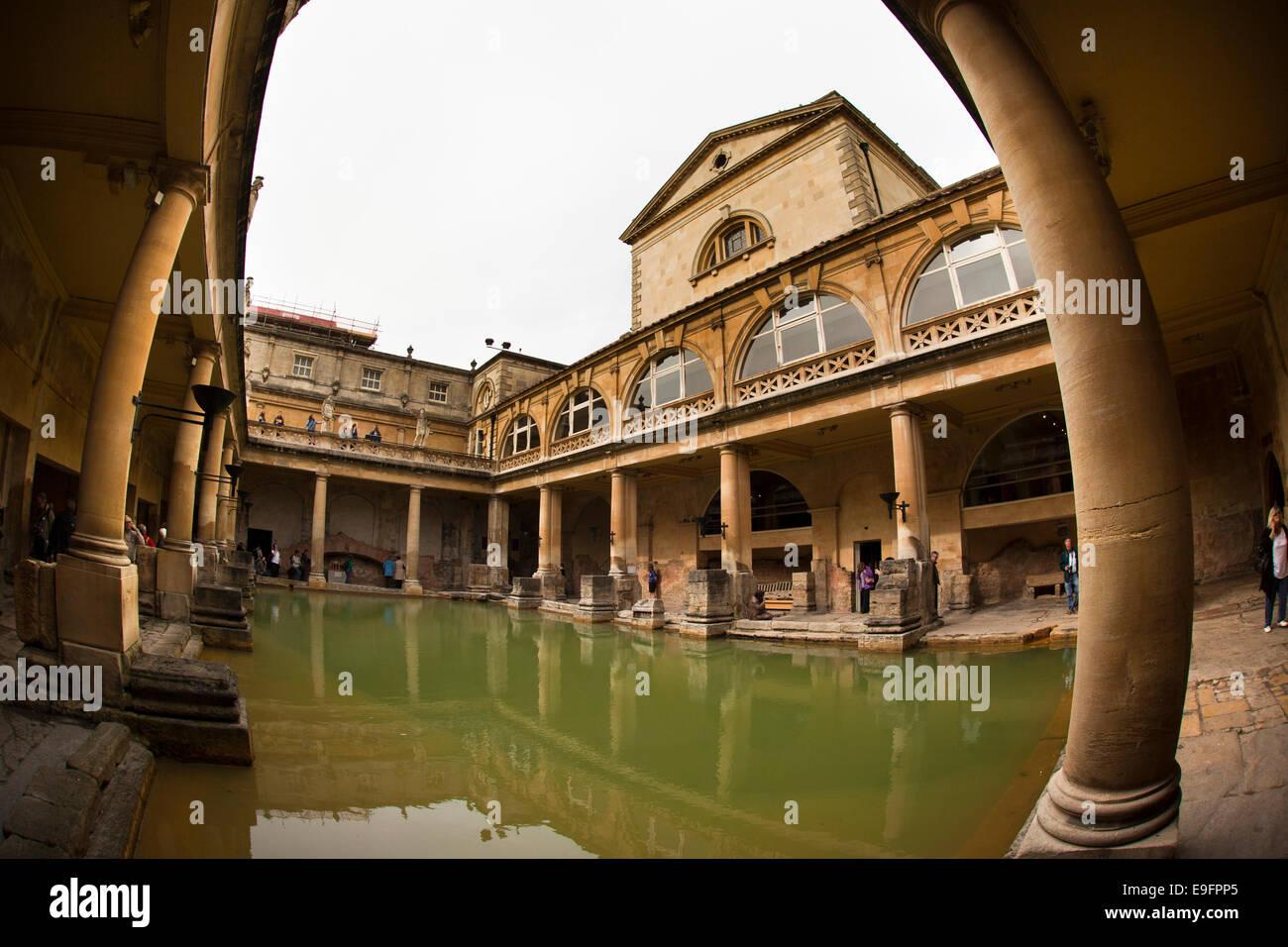 UK, England, Wiltshire, Bath, Roman Baths wide angle fisheye lens ...