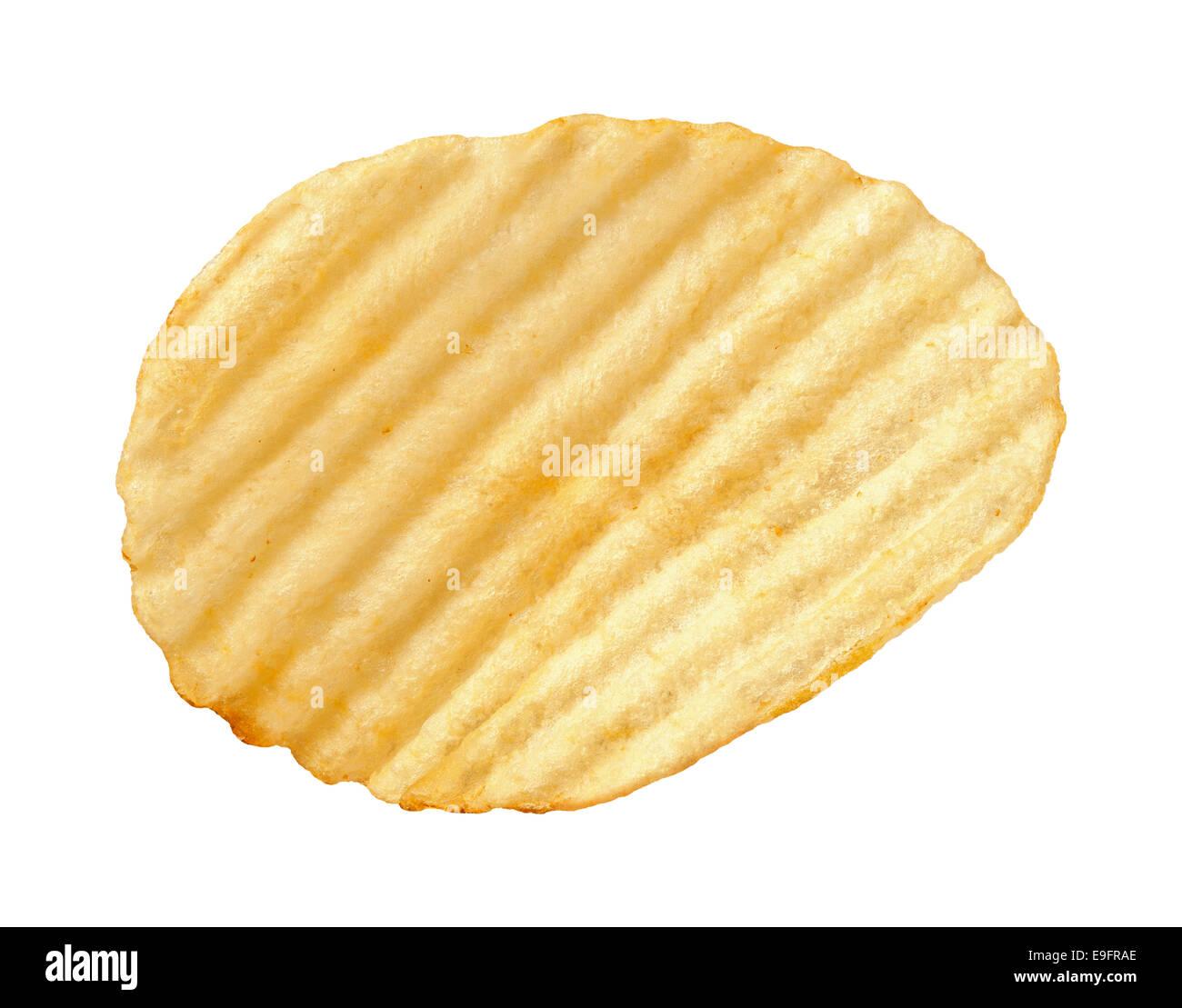 A single wavy potato chip with ridges - Stock Image