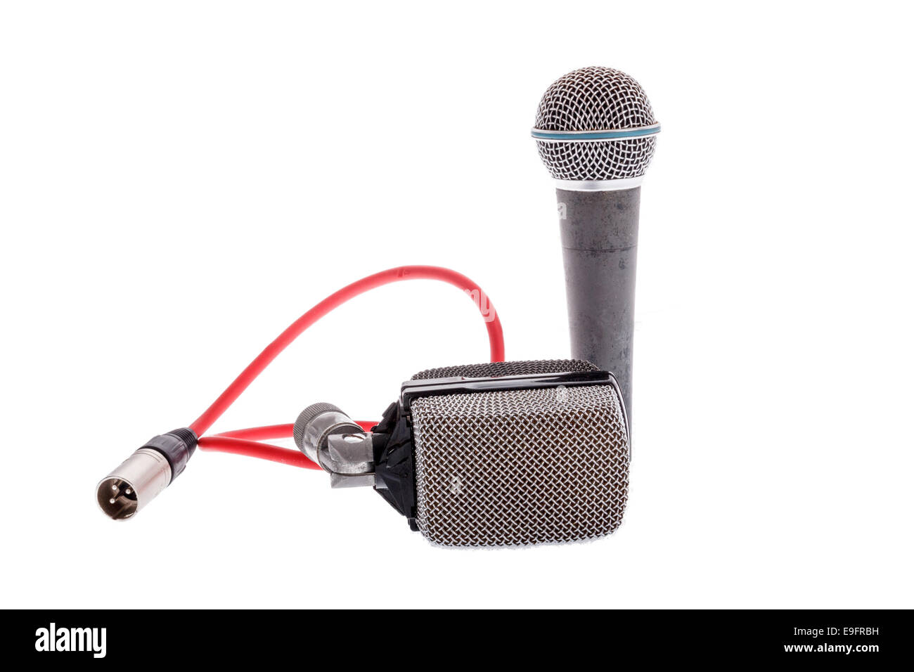 studio recording groups of microphones for lead vocal on live gig  or for drums ,  music instruments for performance - Stock Image