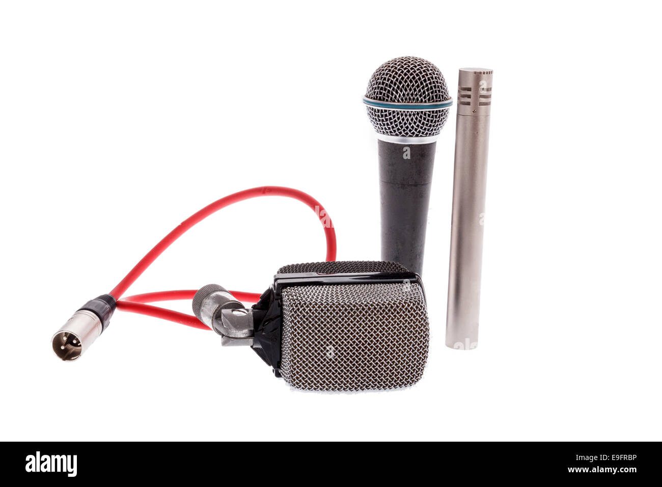 studio recording groups of vintage  microphones for lead vocal on live gig  or for drums ,  music instruments for - Stock Image