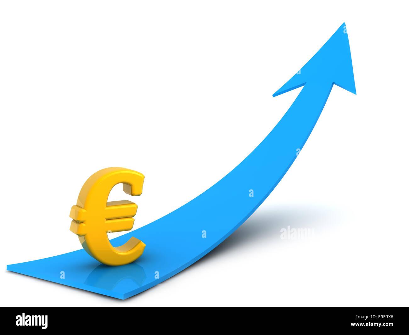 € symbol on blue arrow shape, digitally generated image. - Stock Image