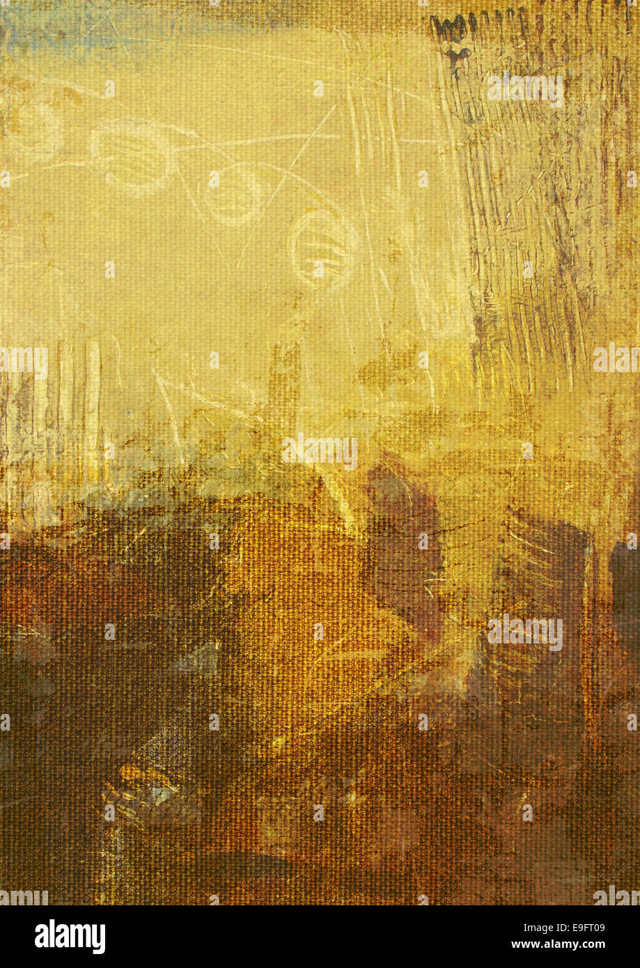 brown oil paints on canvas - Stock Image