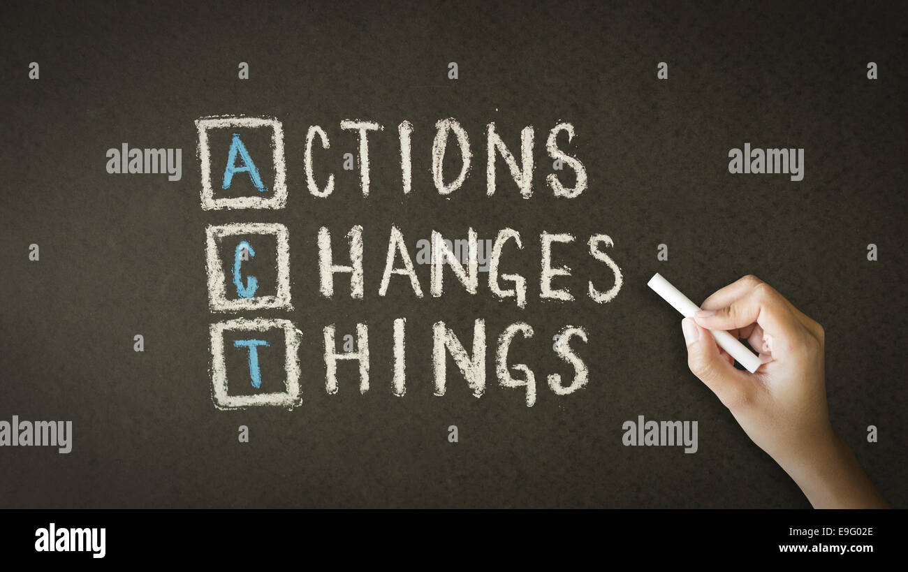 Action Changes Things Chalk Drawing - Stock Image