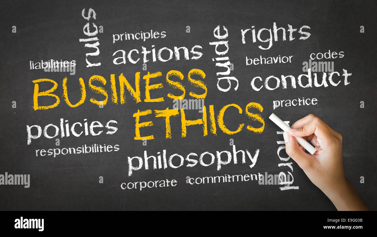 Business Ethics Chalk Drawing - Stock Image