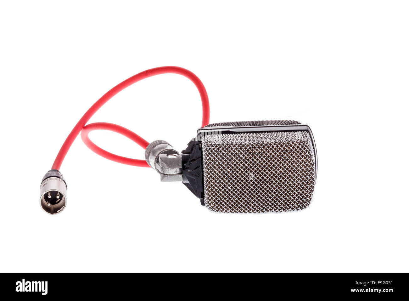 studio recording  vintage  microphone with red cable for lead vocal on live gig  or for drums ,  music instrument - Stock Image