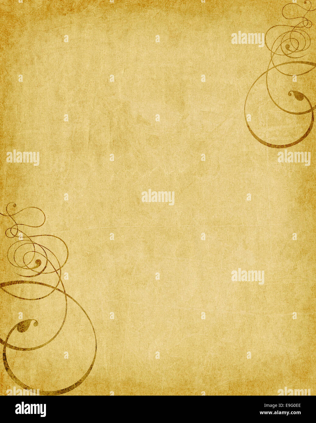 old paper texture with added swirls - Stock Image