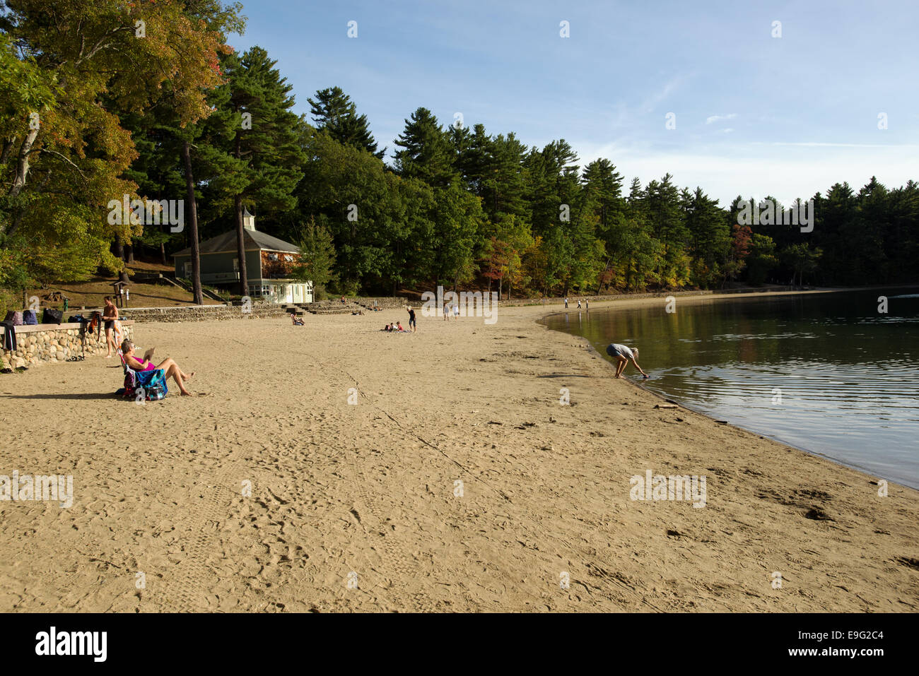 Scenic view of Walden Pond with people at leisure Concord MA Massachusetts USA - Stock Image
