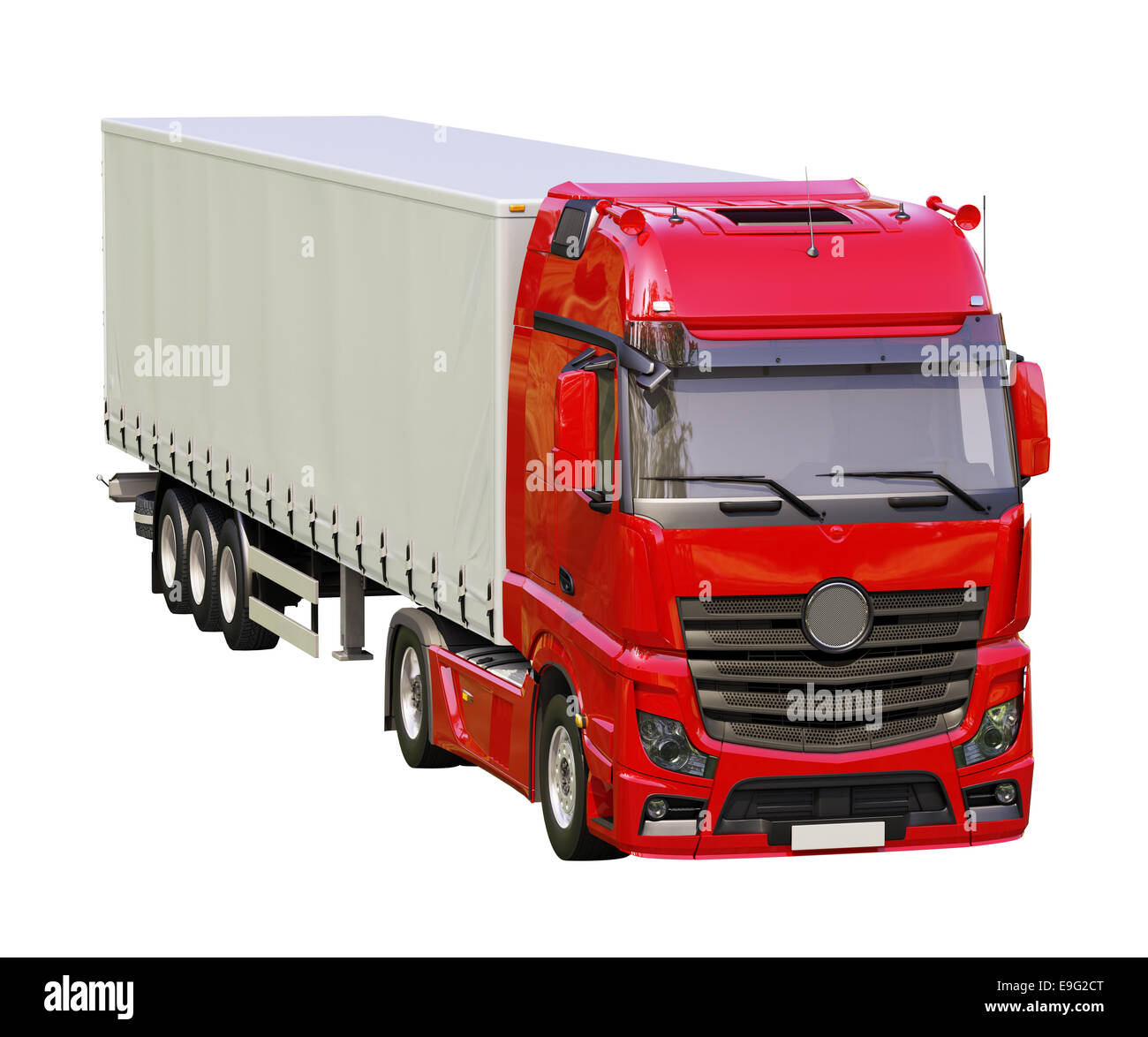 Semi-trailer truck isolated - Stock Image