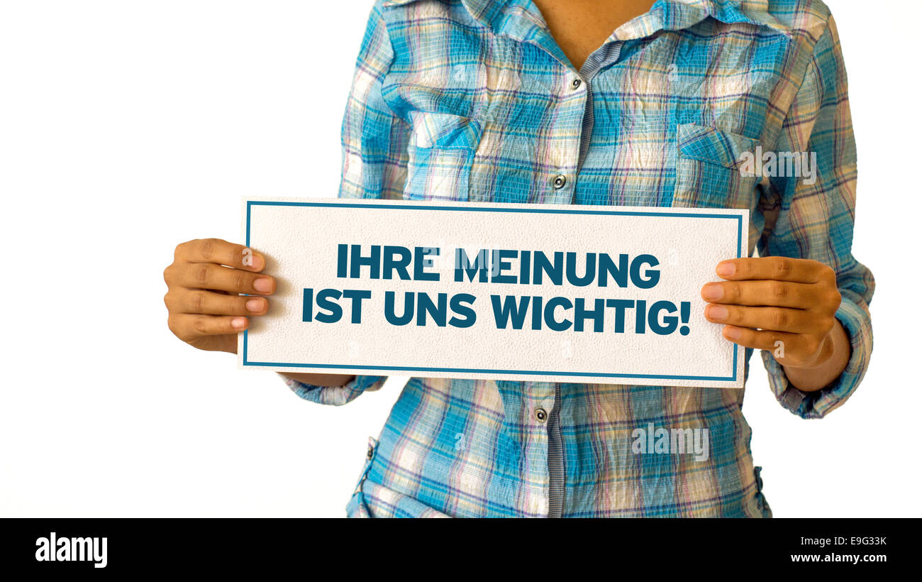 Your opinion matters (In german) - Stock Image