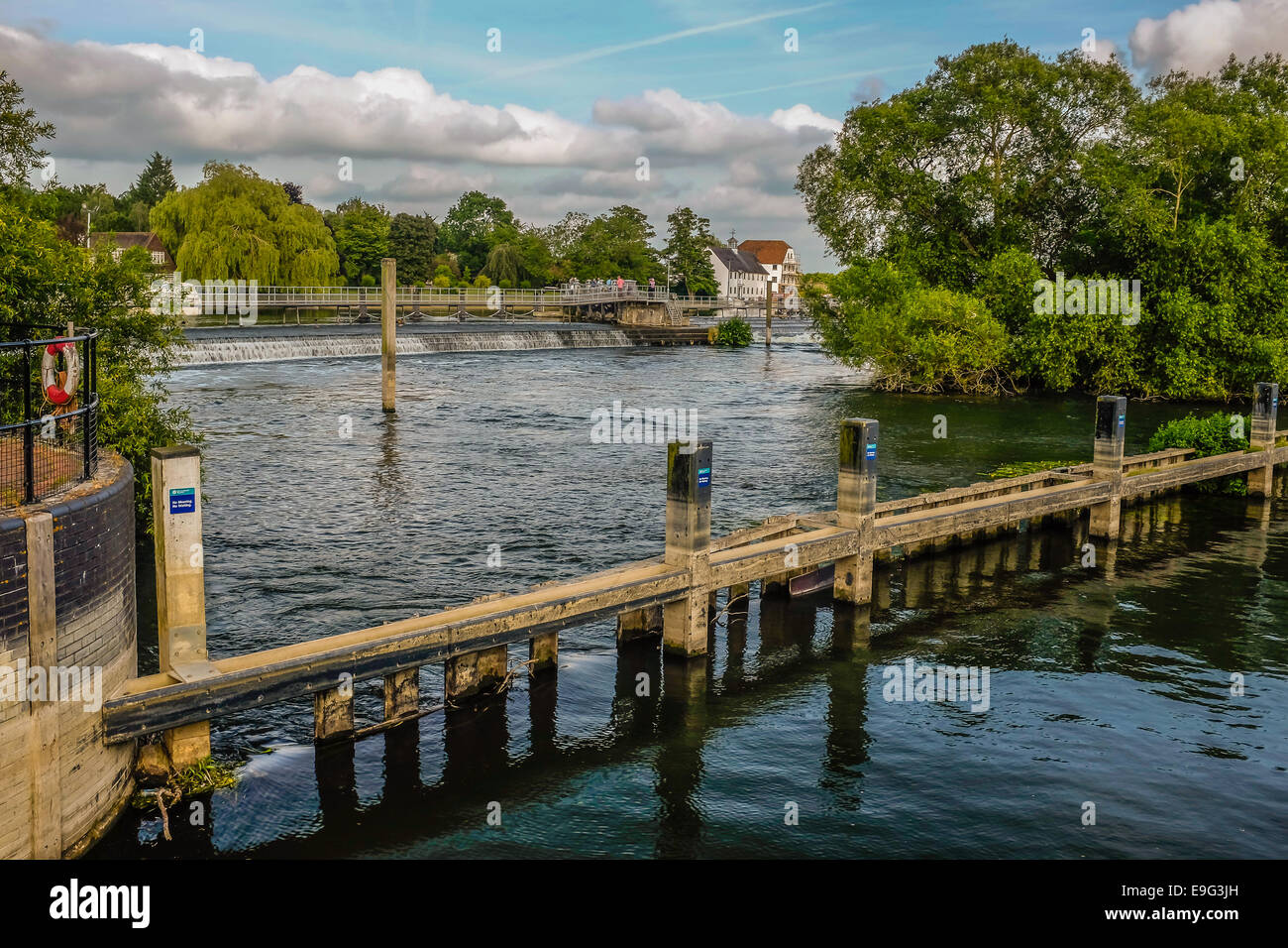 Hambleden Lock  on the river Thames with a weir and  Mill on the Berkshire Buckingham borders - Stock Image
