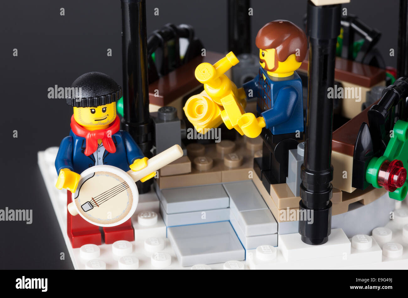 Tambov, Russian Federation - January 08, 2014 Two Lego musicians in pavilion on black background. Studio shot. Stock Photo