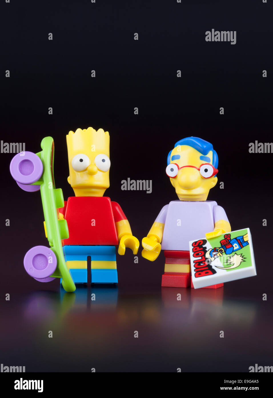 Tambov, Russian Federation - April 30, 2014 Lego Bart Simpson and his best friend Milhouse Mussolini Van Houten - Stock Image