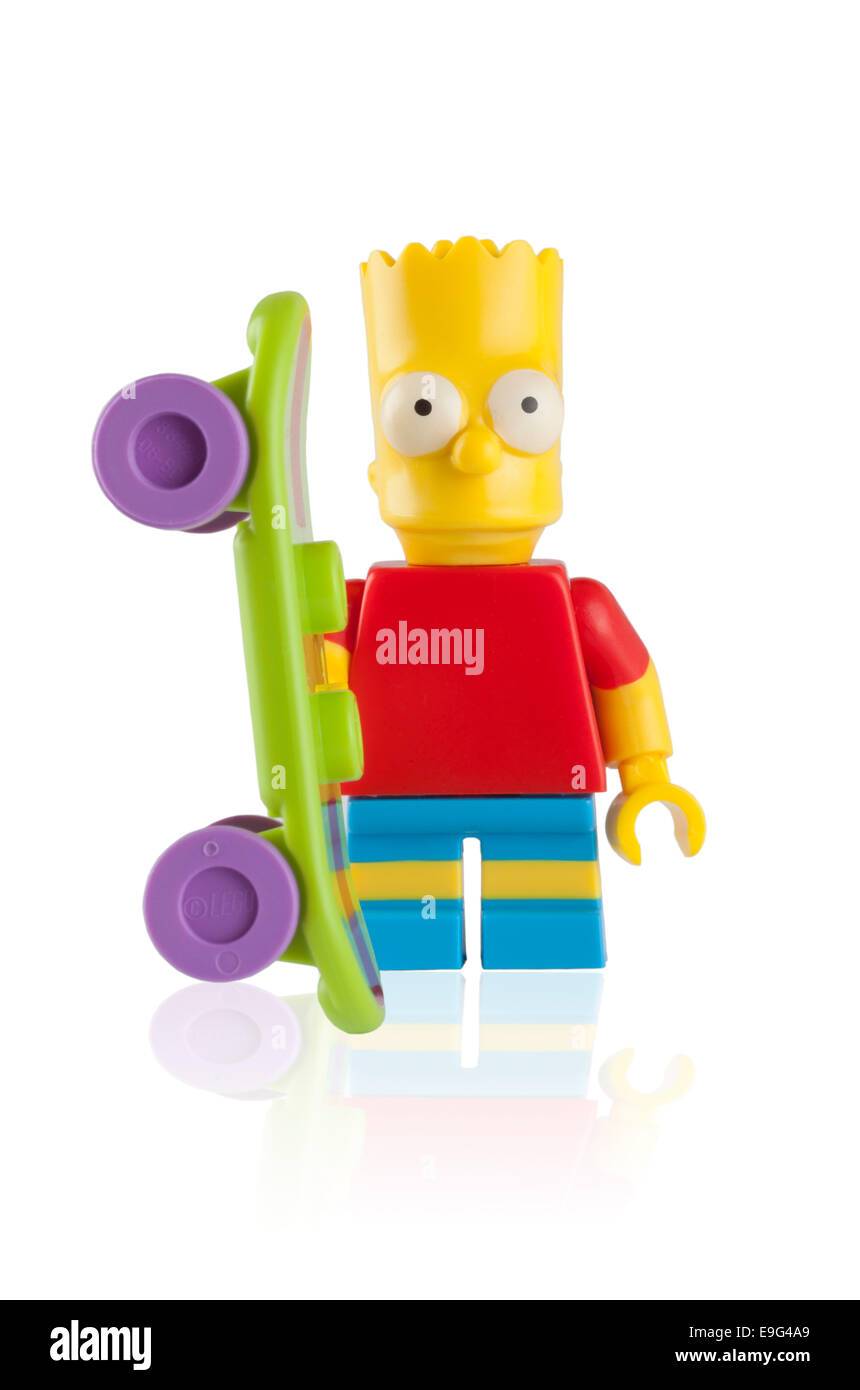 Tambov, Russian Federation - April 30, 2014 Lego Bart Simpson minifigure with skateboard on white background. Studio - Stock Image