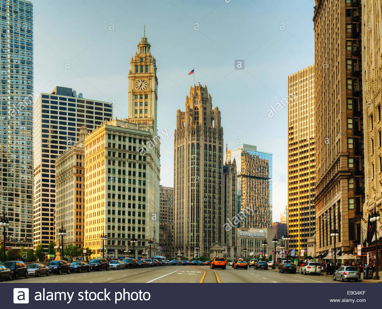 Downtown Chicago with  the Wrigley building - Stock Image