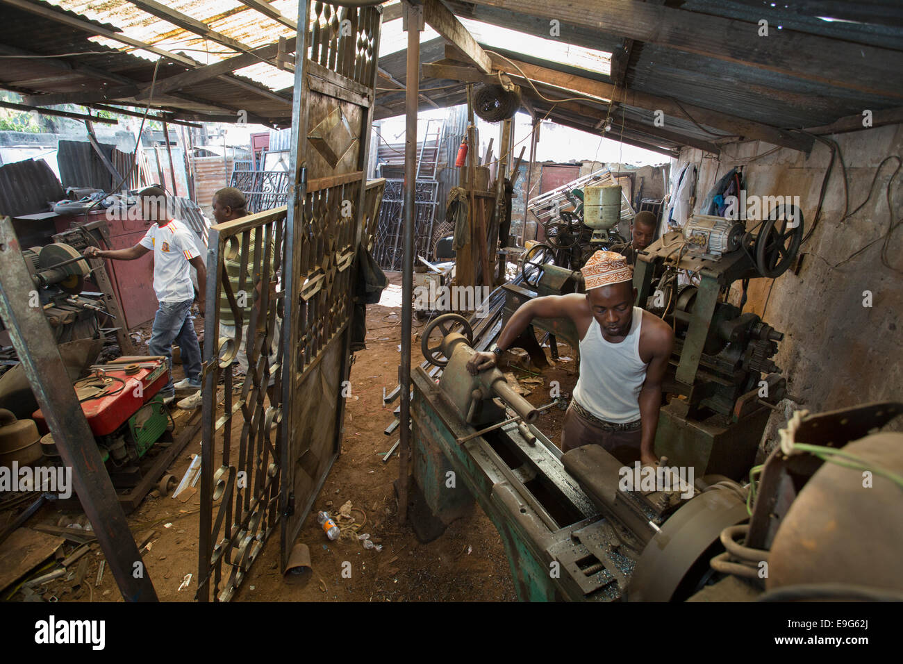 Machinery at a metal workshop in Dar es Salaam, Tanzania, East Africa. Stock Photo