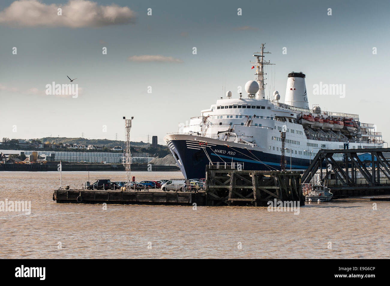 Tilbury, Essex, UK. 27th October 2014.  The cruise ship, Marco Polo berthed at Tibury prior to its departure to - Stock Image