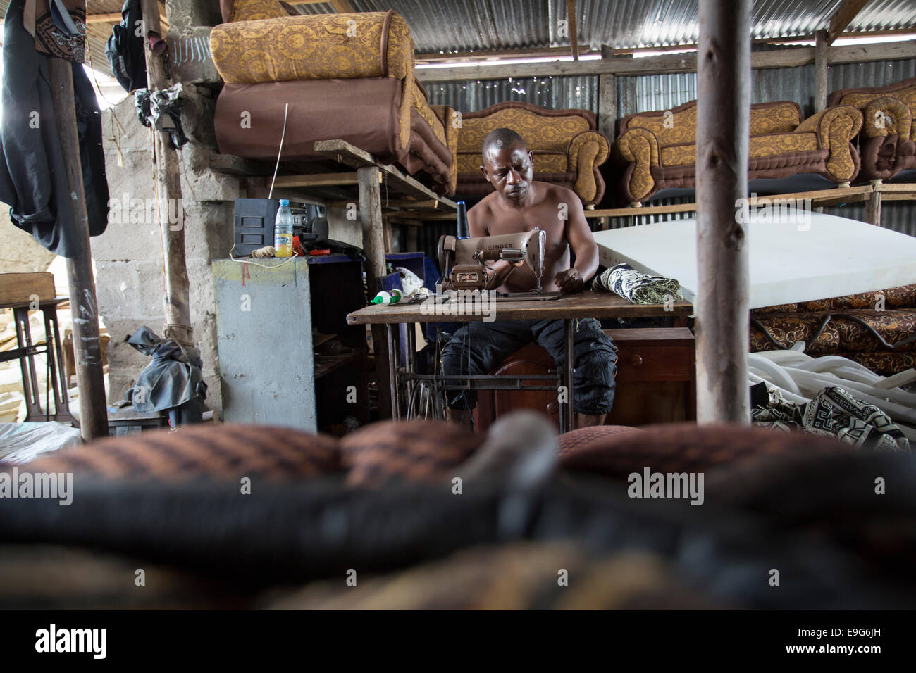 Upholsterer and furniture shop in Dar es Salaam, Tanzania, East Africa. - Stock Image