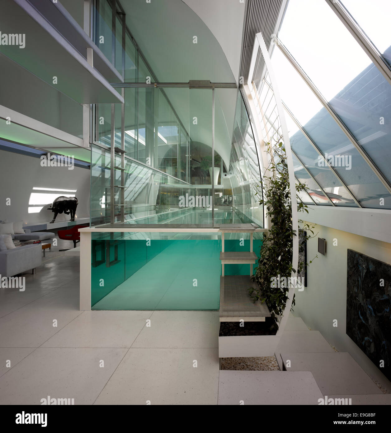 Steps up to custom made glass swimming pool in paxton - Houses with swimming pools in london ...