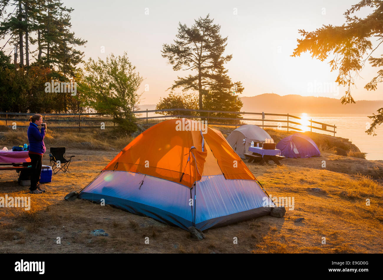 Woman enjoys morning coffee at ocean side campsite, Ruckle Provincial Park, Salt spring Island, British Columbia, - Stock Image