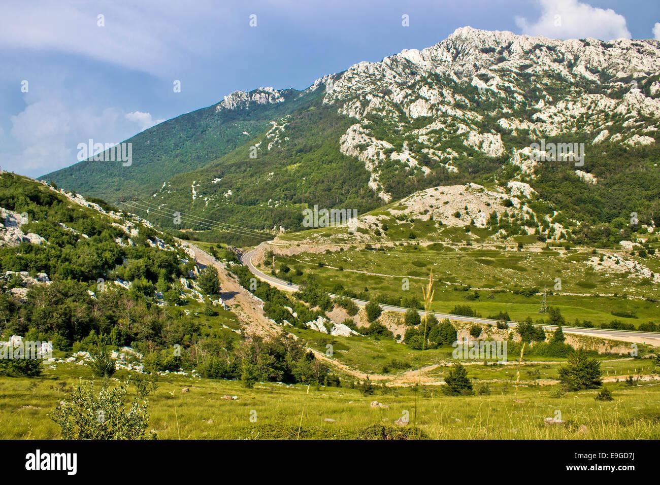 Velebit mountain Prezid pass green landscape Stock Photo