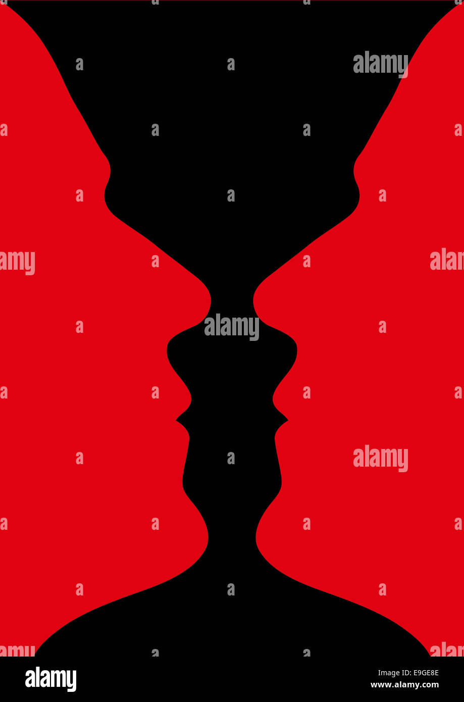 optical illusion of a vase with red black background or two people facing each other Stock Photo