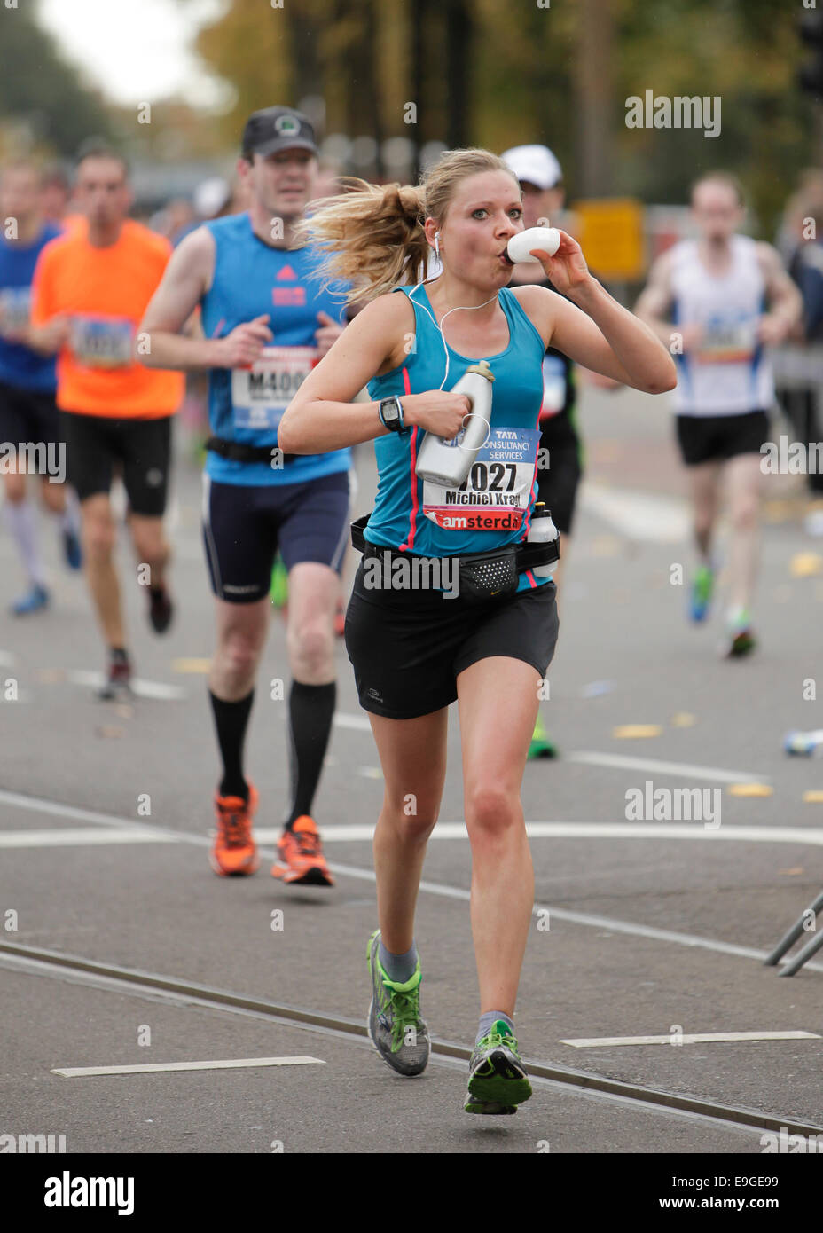 marathon runners at the amsterdam marathon october 2014 - Stock Image