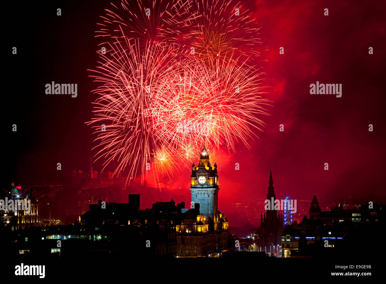 Edinburgh Festival Fireworks 2014 from the castle, viewed from Calton Hill, Scotland, UK - Stock Image