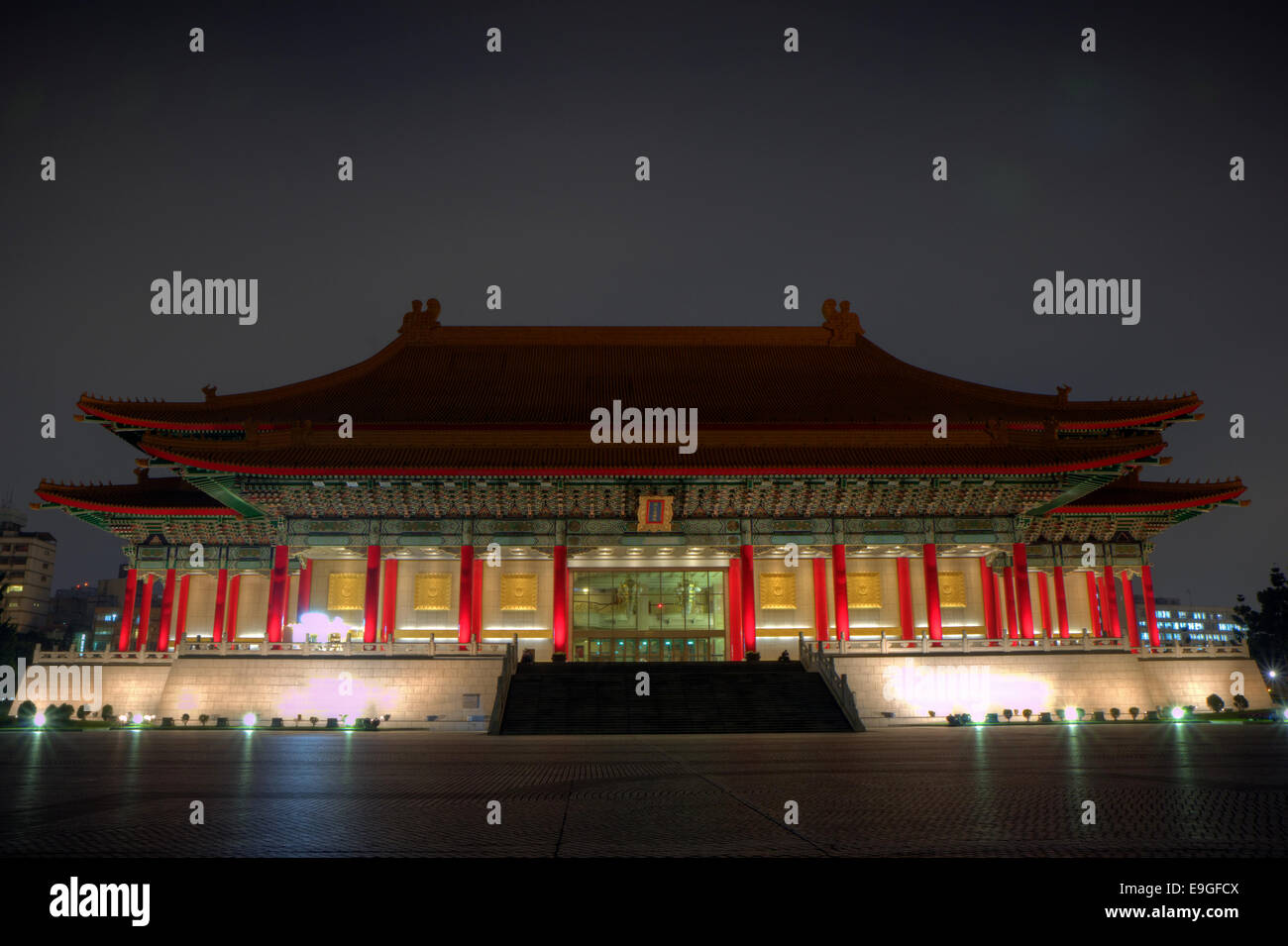 National Theater at the Chiang Kai-shek Memorial Hall Square (a.k.a. Liberty Square or Freedom Square) at dusk in Stock Photo
