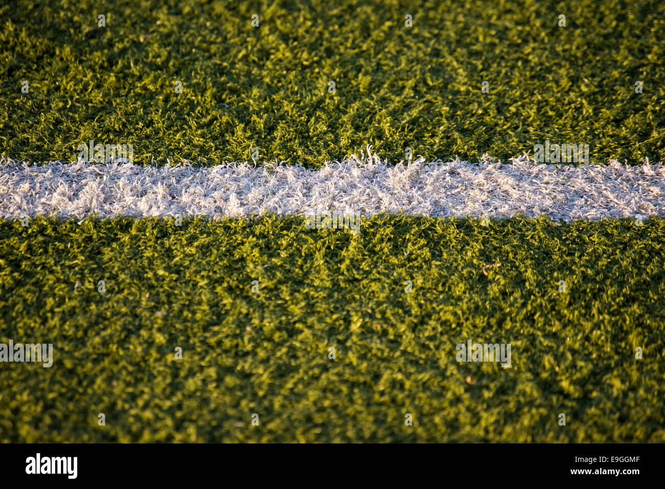 Part of a white line on an astro turf - Stock Image