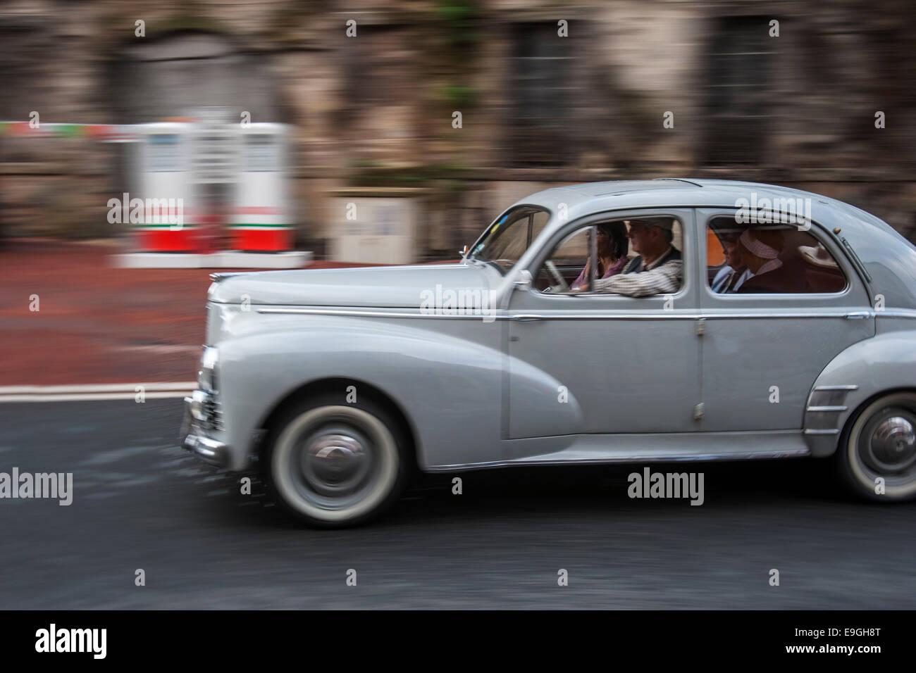 Classic car Peugeot 203 during the Embouteillage de la Route Nationale 7, happening for antique cars at Lapalisse, - Stock Image