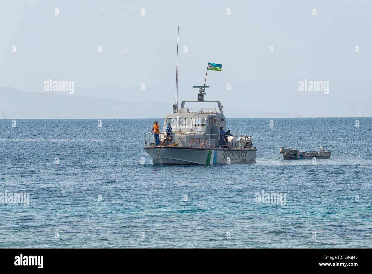 Patrol Boat at Les Sables Beach, Djibouti - Stock Image