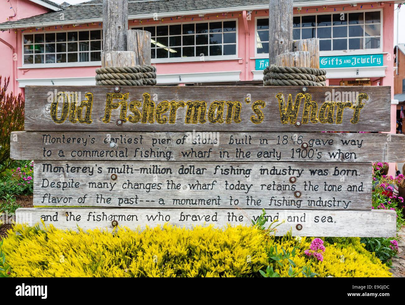 Sign at Old Fisherman's Wharf, Monterey, California, USA - Stock Image
