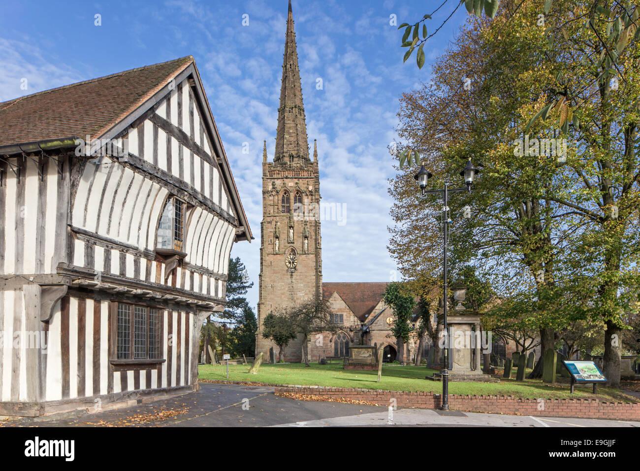 The15th century timber framed Tudor Merchants House and St Nicolas Church, Kings Norton, Birmingham, West Midlands, - Stock Image
