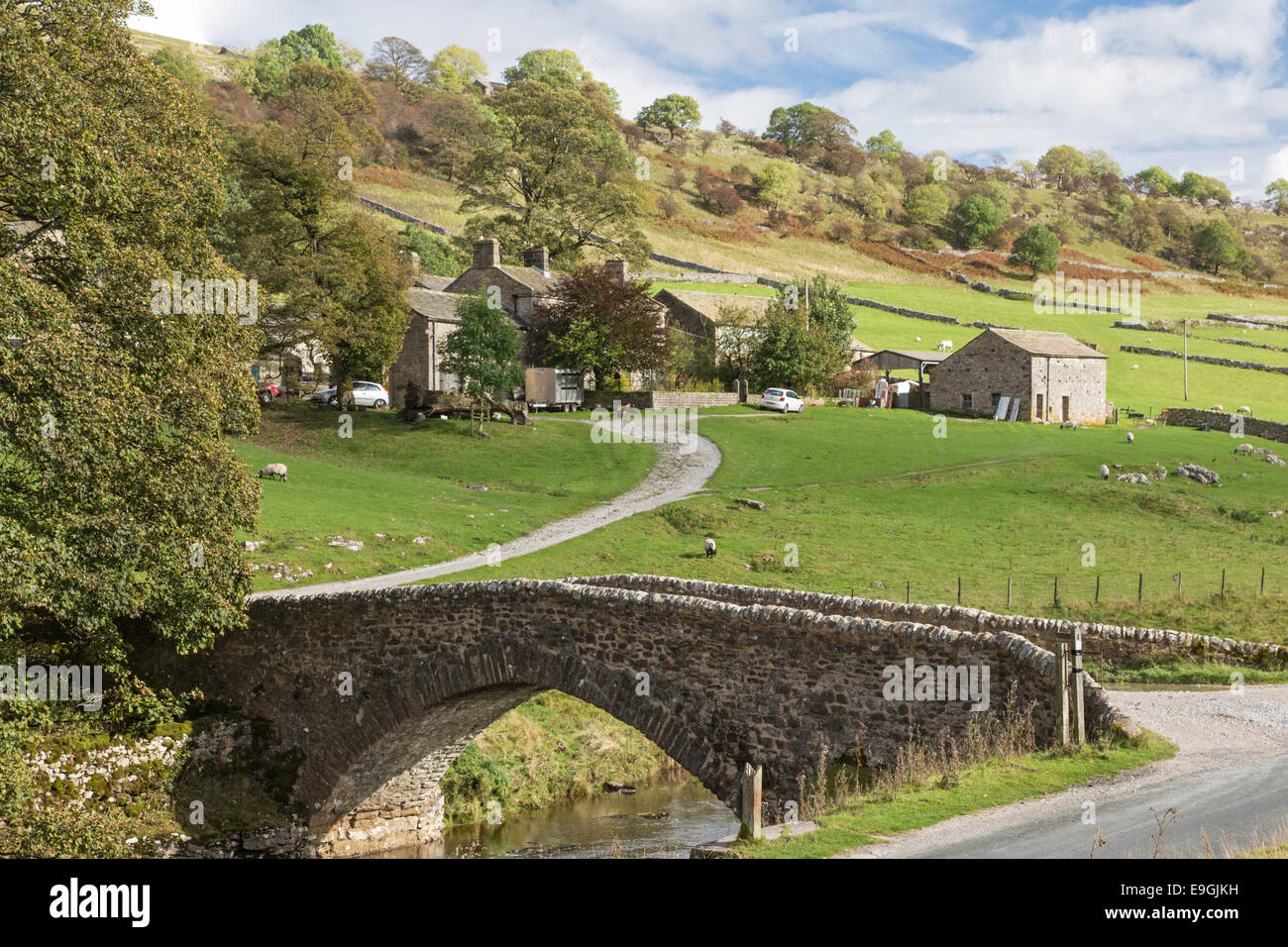 The small hamlet of Yockenthwaite, Wharfdale in the Yorkshire Dales National Park, North Yorkshire, England, UK - Stock Image
